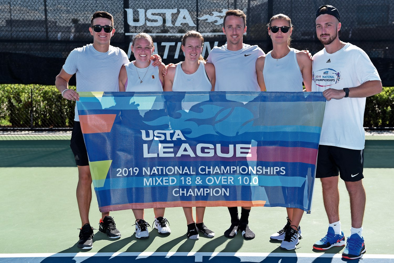 Vivas, left, Sarah Bowen, Samantha Perri, Marks, Volman, and Loic Minery represented the United States' eastern section at the USTA League Championship in Orlando, Florida.