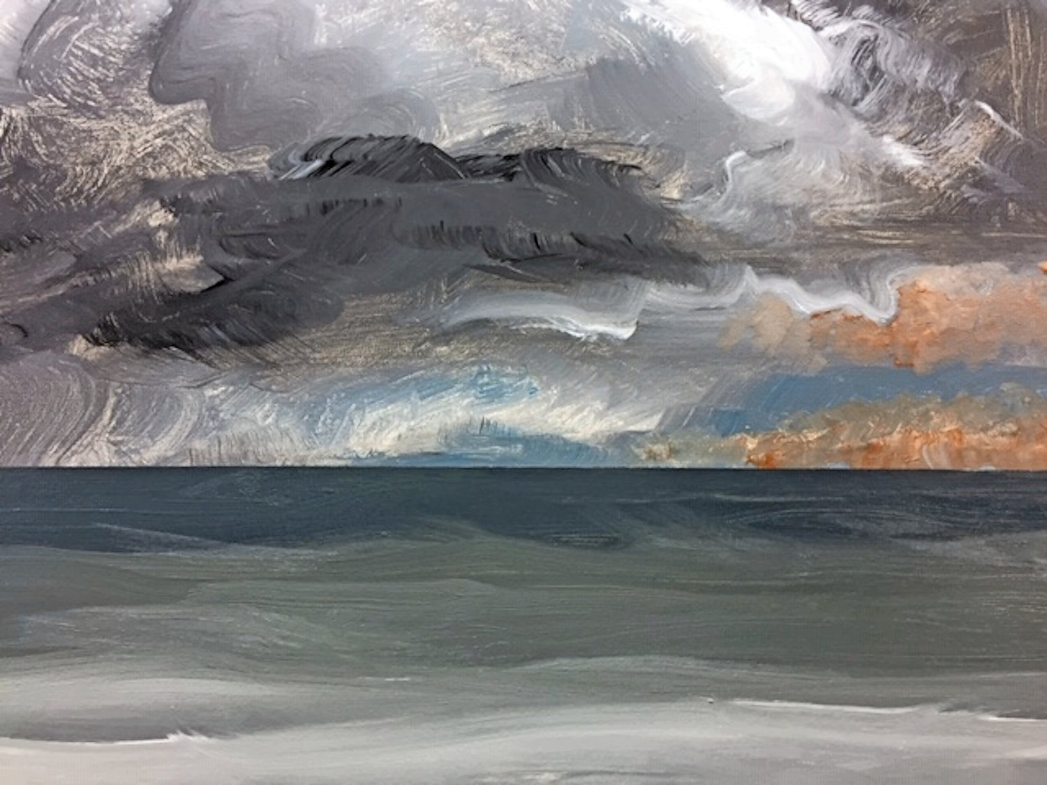 A scene of the Great South Bay before a storm. Nuccio painted the oil-on-canvas piece in 2017.