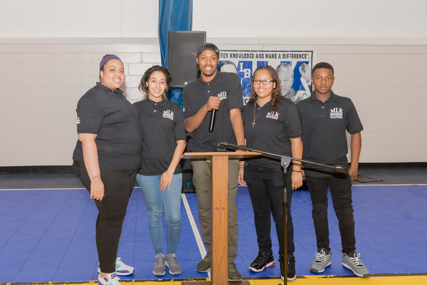 MLK staffers Andrea Elliott, far left, DeMetra Montgomery, Isaih Bell, Aaliyah K. Bourne and Jaquel Davidson.