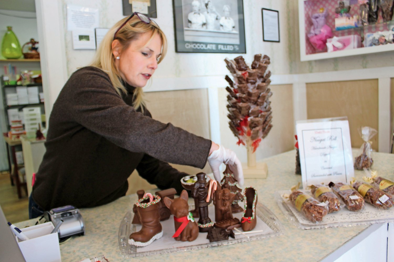 Jackie Brown, owner of Emile's for the past two years, is selling chocolates in festive shapes this holiday season. Each week, the shelves will be stocked with something different.