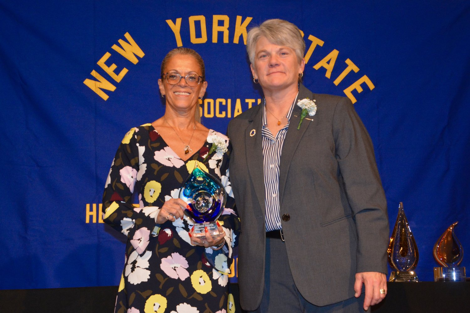RVC Athletic Director Carol Roseto, left, with Dr. Tam Ray, president of the New York State Association for Health, Physical Education, Recreation and Dance.