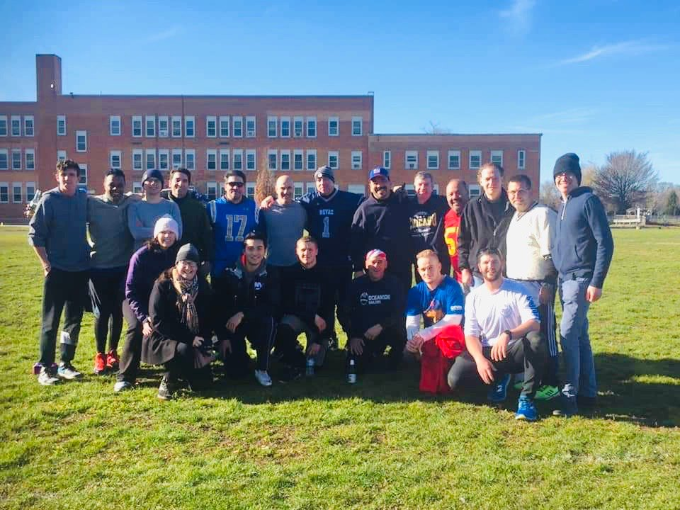 The Oceanside High School class of 1984 played its 38th annual Turkey Bowl at School No. 6 on Nov. 30. It is a Thanksgiving weekend tradition.