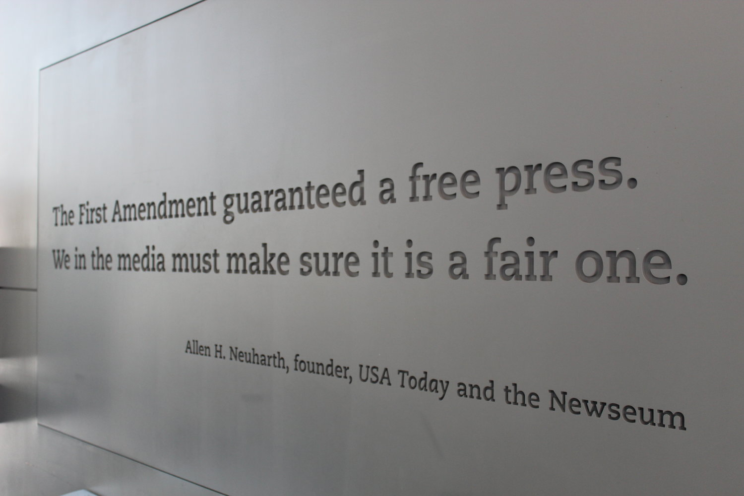Inscribed into the walls of the Newseum are quotes pertaining to the power of the press.