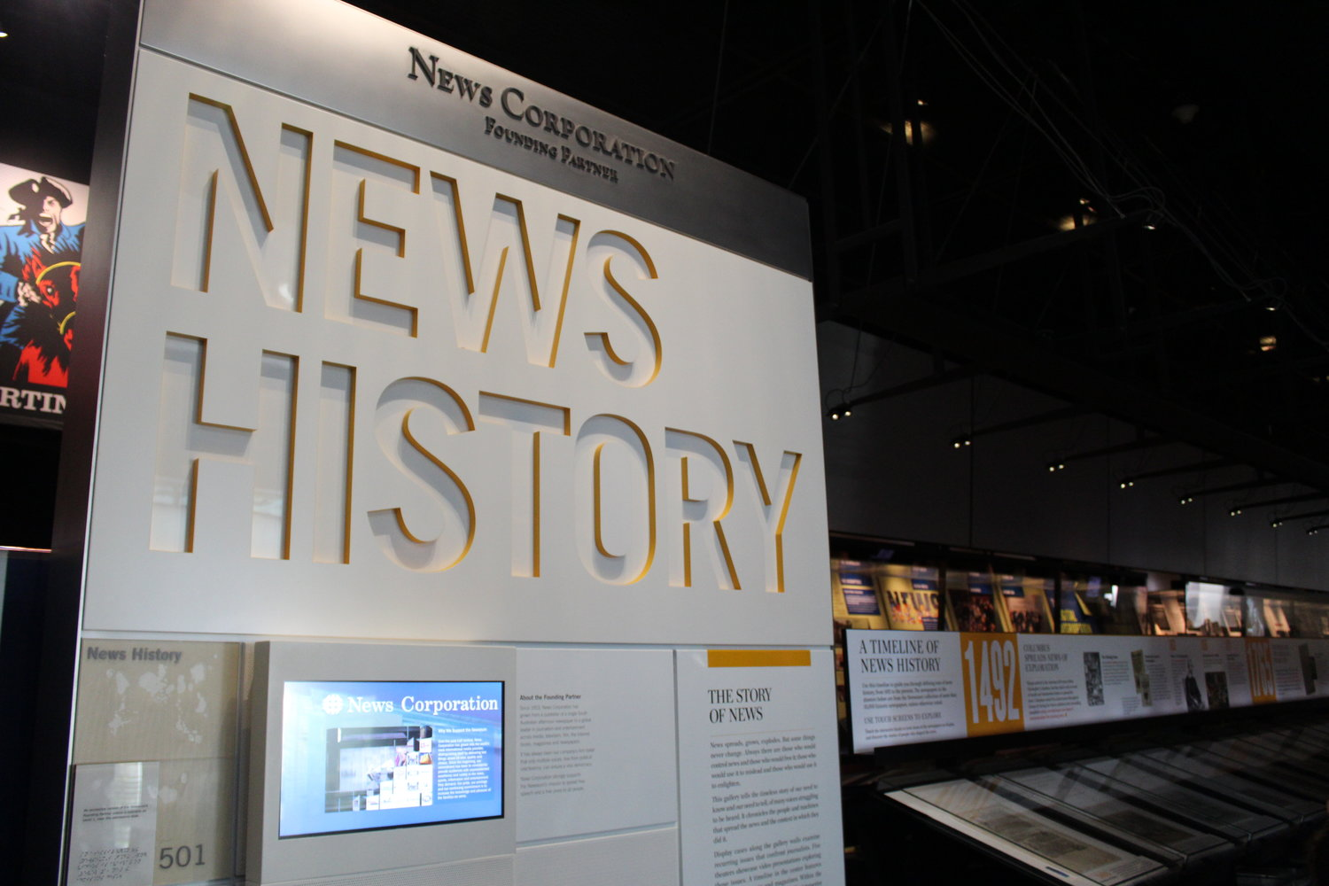 A timeline on Level 5 showcases nearly 400 historic newspaper front pages, newsbooks and magazines from the Newseum's collection, covering more than 500 years of news history.