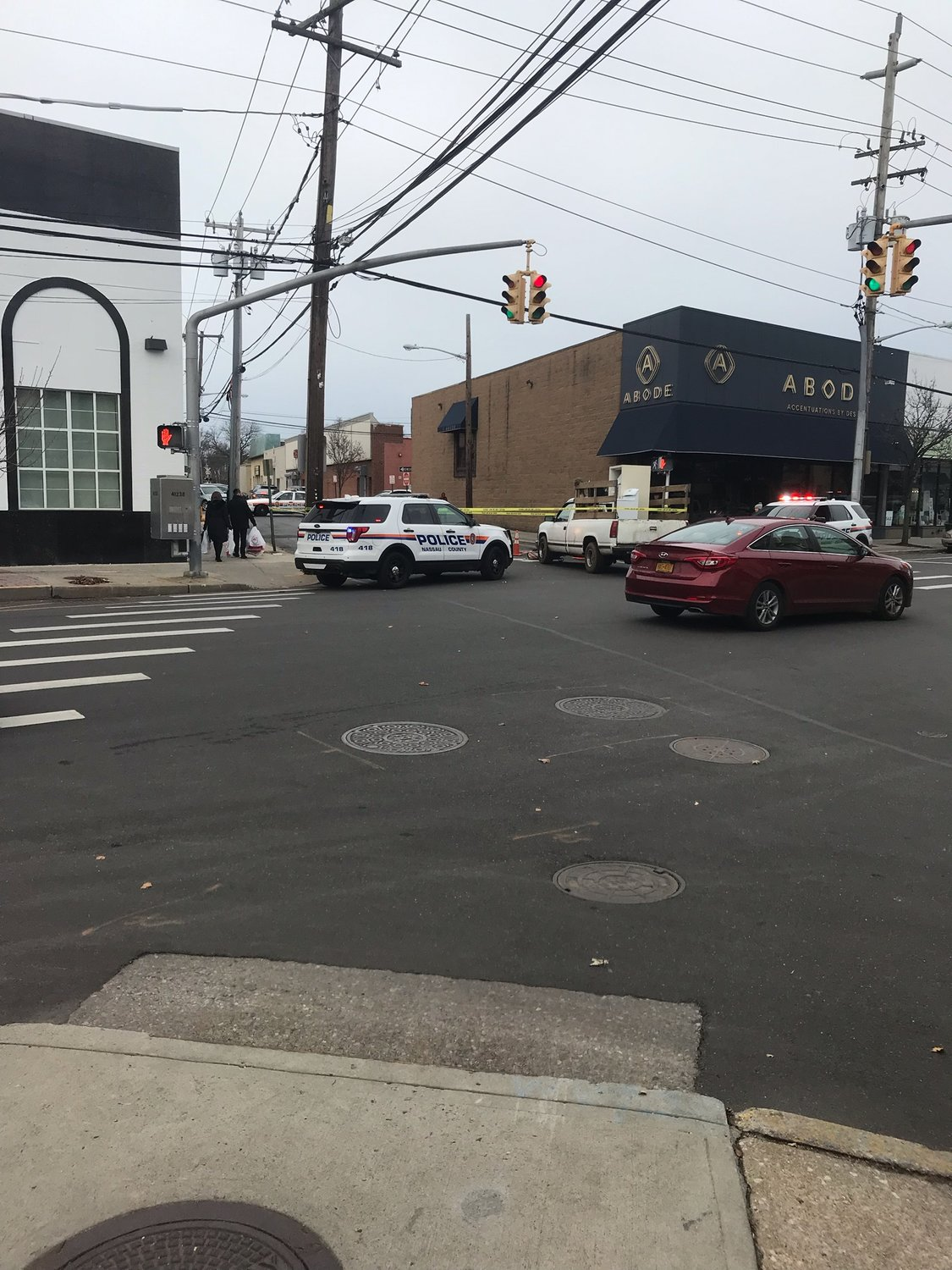 Nassau County police are investigating an accident, where a woman was hit by a white-colored pickup truck between at Washington and Central avenues between Cedarhurst and Lawrence on Dec. 6.