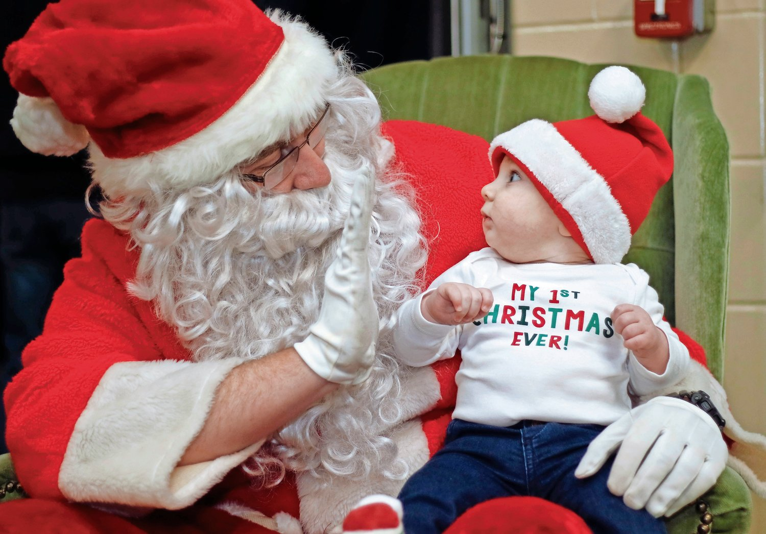 At 6-months-old, Anthony Mollish met Santa for the first time at the Franklin Square & Munson Fire Department's Christmas tree lighting on Dec. 6.