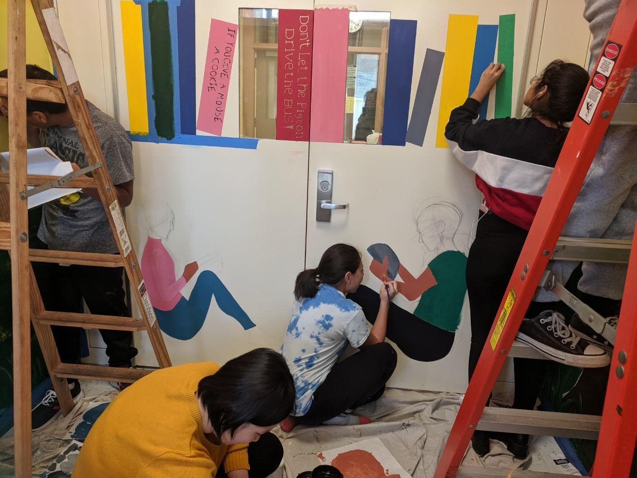 West Hempstead High School art students constructed a new mural in the entryway of the Chestnut Street School.
