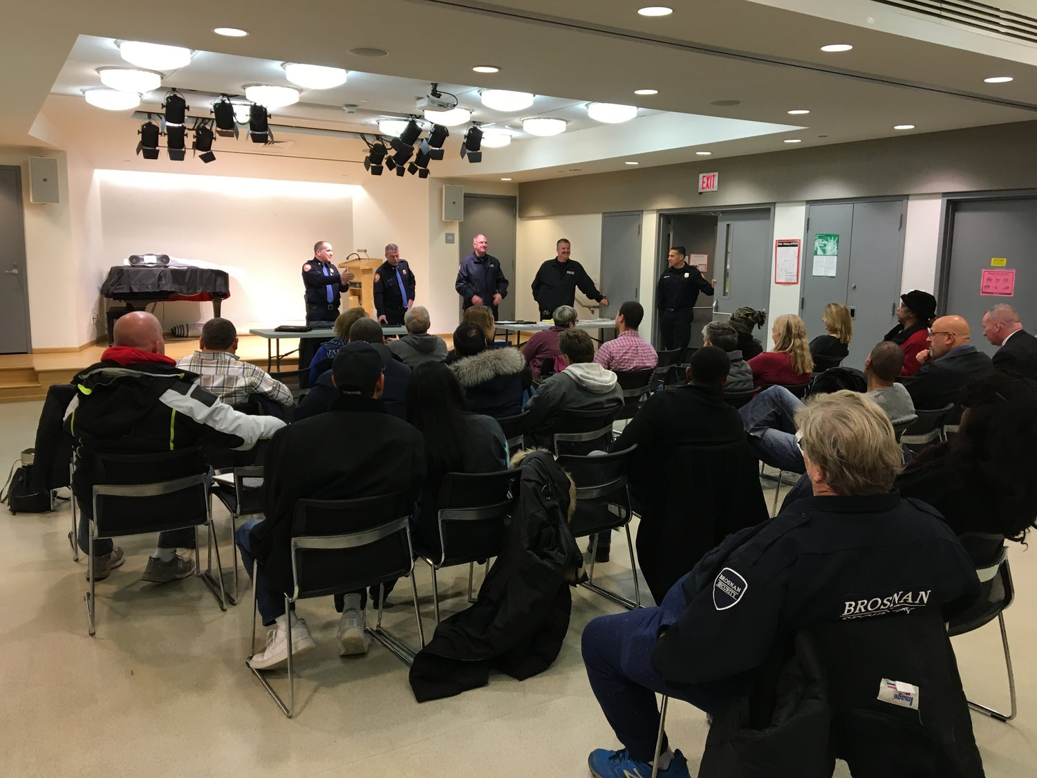 Officers from the Nassau County Police Department's 1st Precinct fielded Baldwinites' questions at a Dec. 3 forum.