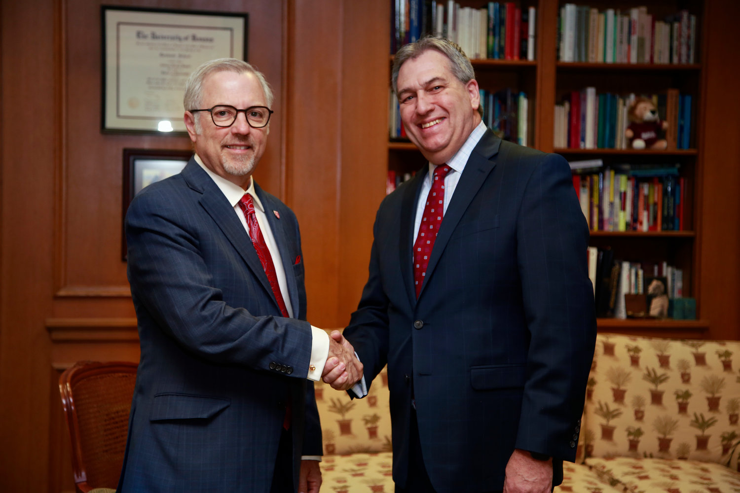 Dr. James Lentini, left, was welcomed to Molloy by current President Dr. Drew Bogner.