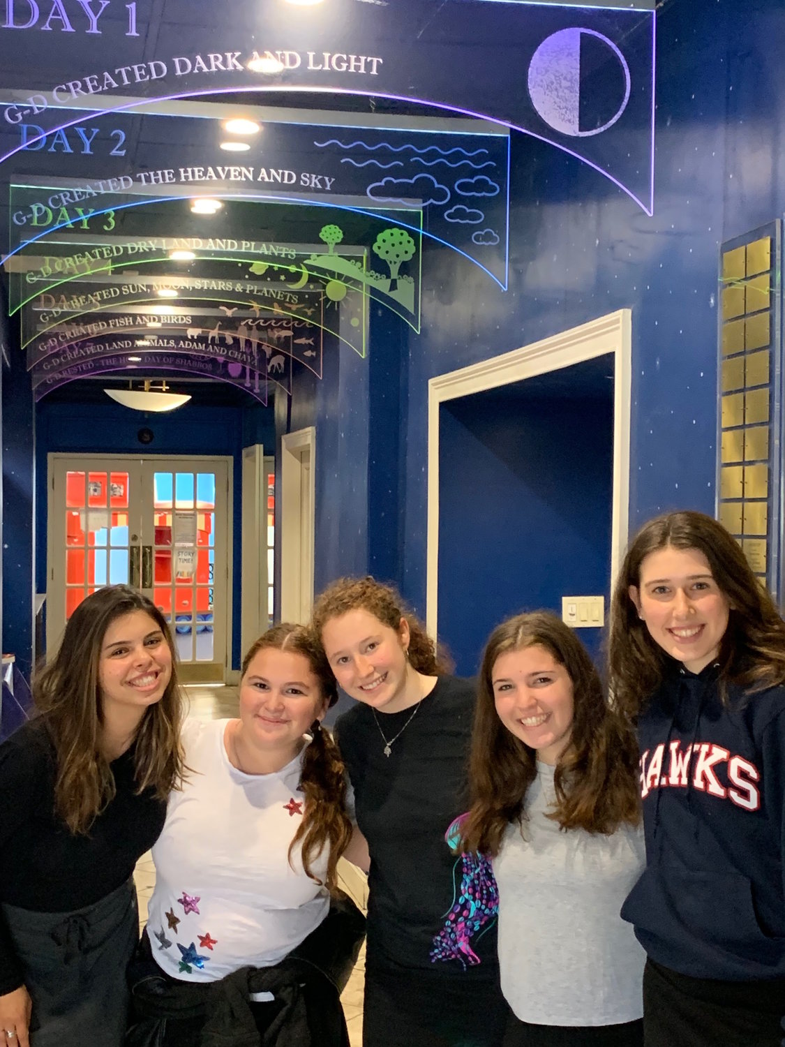 Bunch o' Bookworms, a high school student volunteer group, help's Hindi's Libraries. From left were Susanna Horowitz, Makayla Schein, Ilana Sacolick, Molly Feder and Rachel Gottesman.