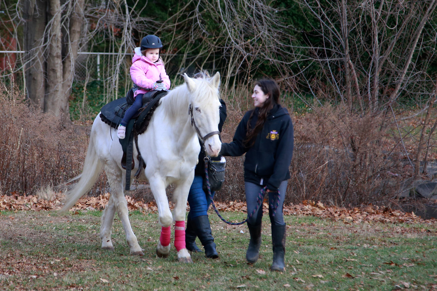 Three-year-old Evie Harlacher rode a horse from the New York Equestrian Center.