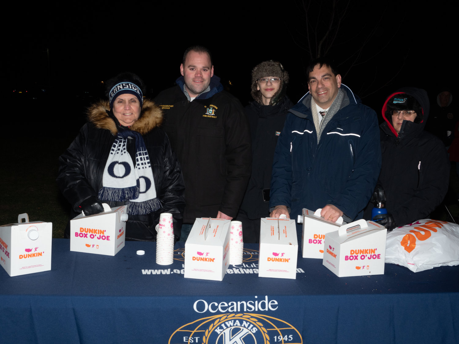 Members of the Kiwanis Club handed out coffee and treats to attendees.