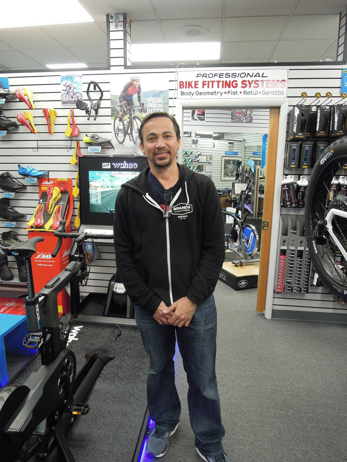 Byron James, one of the managers at Brands Cycle & Fitness, said his store has benefited from its strategic partnership with Amazon.com.