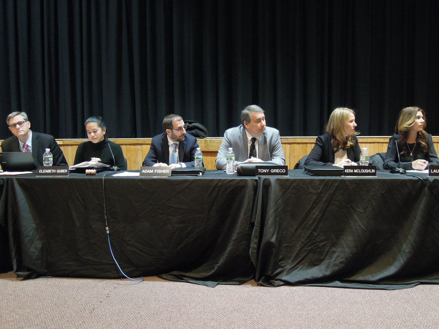 Wantagh Schools Superintendent John McNamara, far left, Board of Education President Elizabeth Gruber, Vice President Adam Fisher and Trustees Tony Greco, Kyra McLoughlin and Laura Reich listened to parents' and children's concerns.