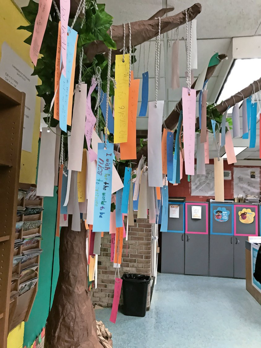The Wishtree in Vernon's library includes all kinds of wishes from those who participated in the Community Book Club.