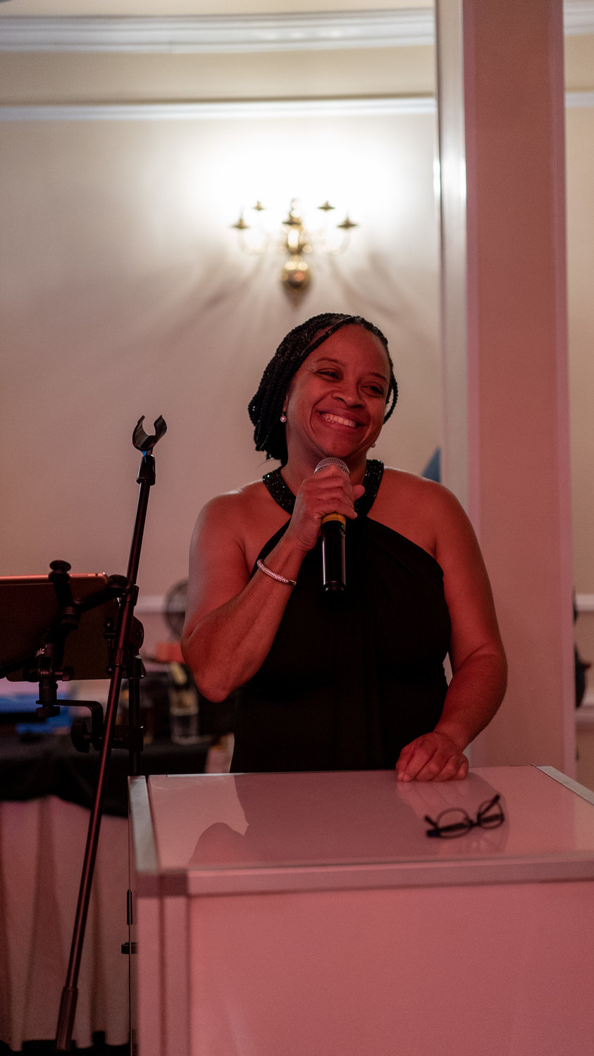Dr. Zodelia Williams, founder and executive director of 3D's Aftercare Inc., spoke to a Coral House ballroom filled with people at 3D's Unsung Warriors Gala on Oct. 24.