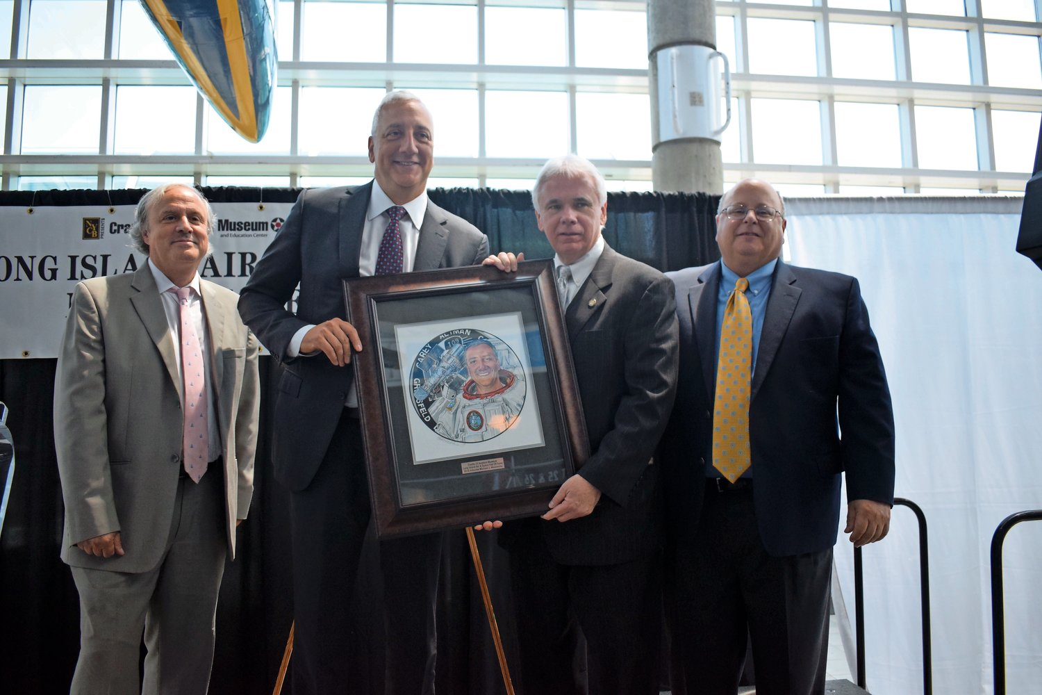 Franklin Square-native and astronaut Michael Massimino, second from the left, was inducted into the Long Island Air & Space Hall of Fame in 2018.