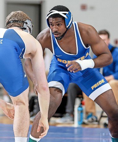 Newcomer Charles Small, right, bolstered Hofstra's lineup at 184 pounds after capturing a national championship at the JUCO level last winter.