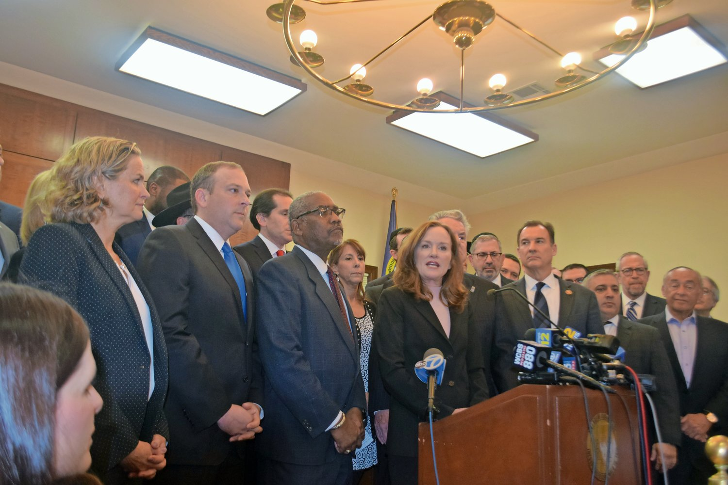 U.S. Rep. Kathleen Rice, at lectern, led the Long Island congressional delegation and many other elected and appointed officials in showing a united front against anti-Semitism on Jan. 3.