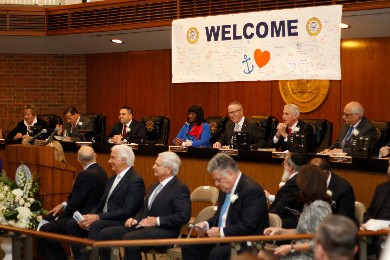 The Town of Hempstead Board, minus Carini, as well as dignitaries at Tuesday's festivities.