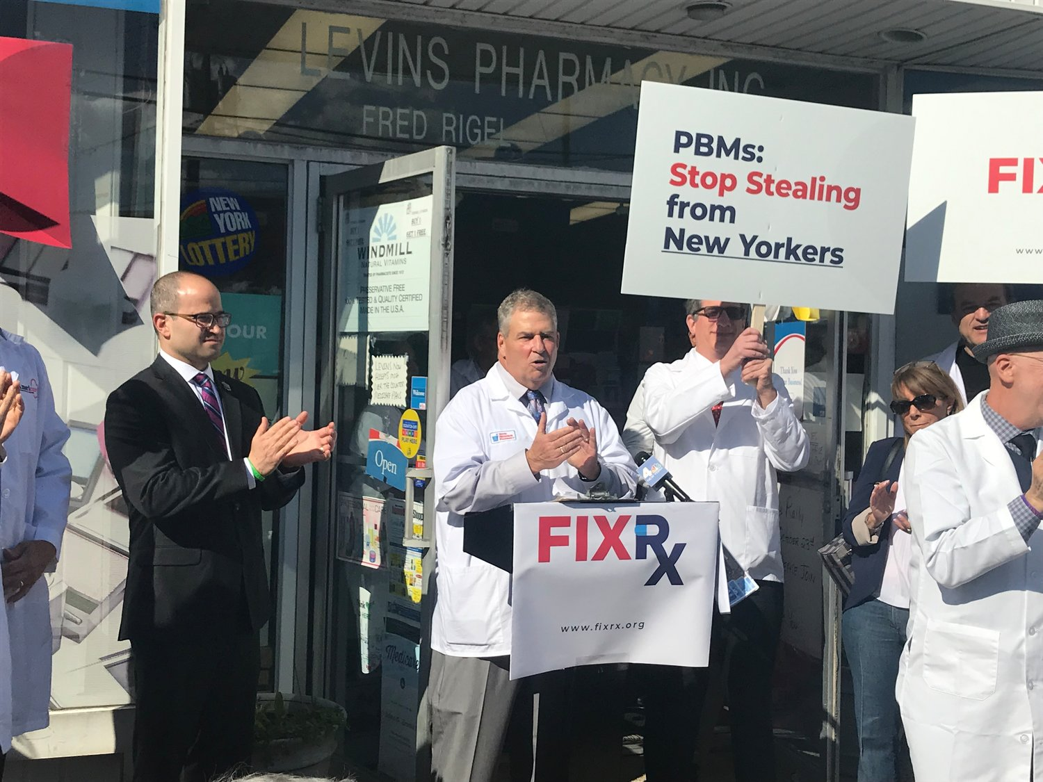 Levin's Pharmacy in Oceanside hosted a rally on Oct. 23, urging Gov. Andrew Cuomo to sign a bill that would have restricted the power that pharmacy benefit managers have over small businesses. Cuomo vetoed the legislation on Dec. 26.