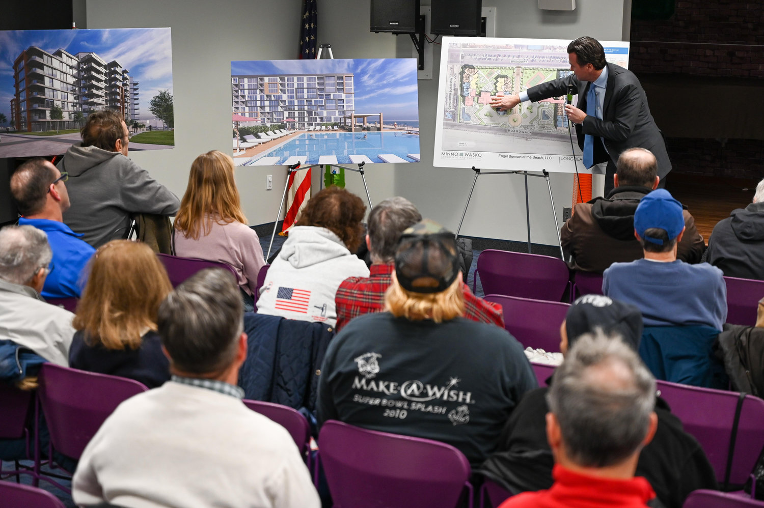 Daniel Deegan, an attorney for Engel Burman, went over the details of the project with Long Beach residents.