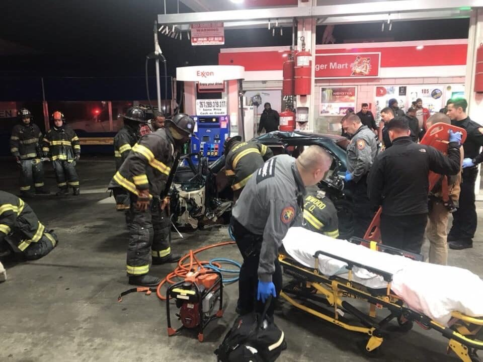 Four people were injured in a three-car crash at an Exxon gasoline station in Inwood on Jan. 11.