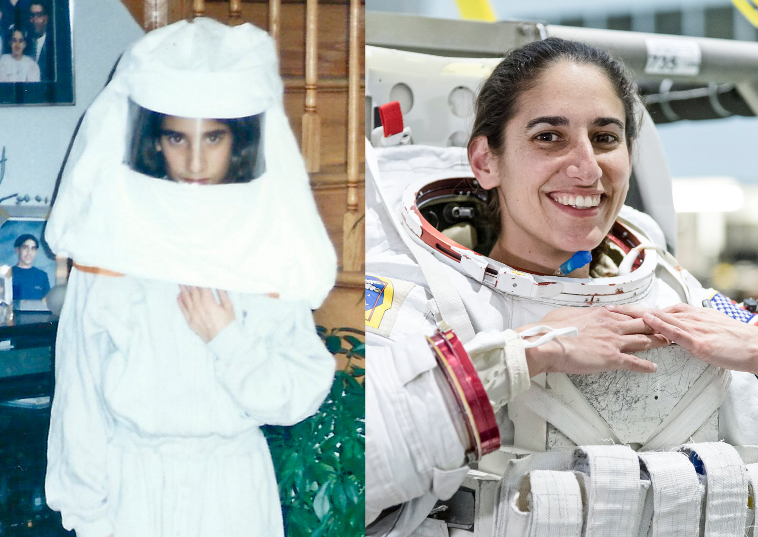 Jasmin Moghbeli dressed as an astronaut for a Lenox Elementary School project as a sixth-grader in December, 1994, left. She graduated from NASA's Artemis program Jan. 10.