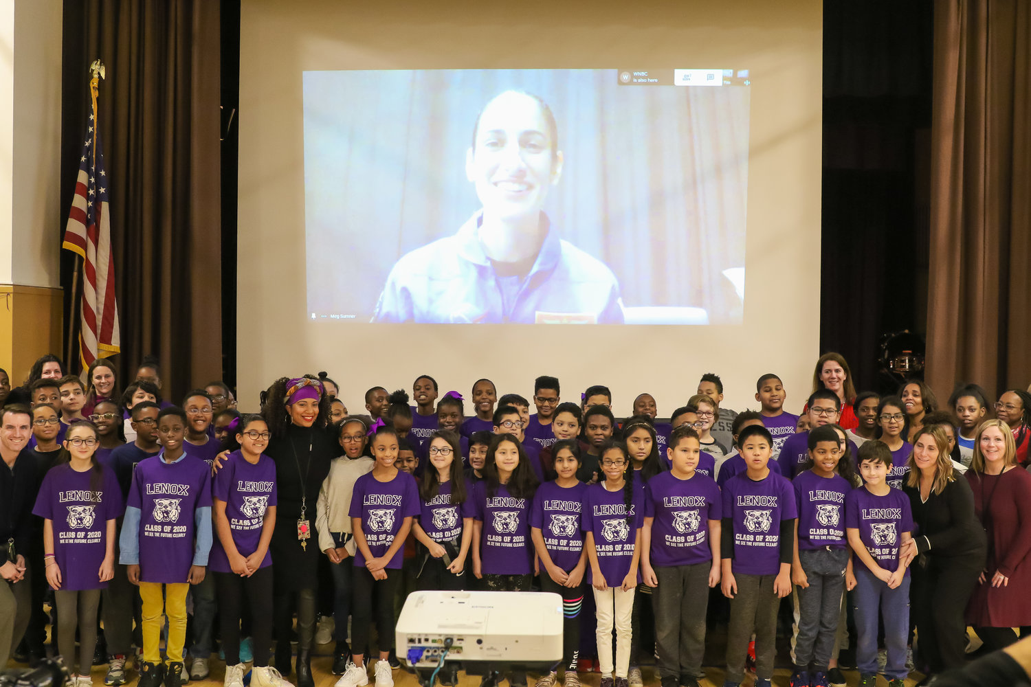 Lenox Elementary School fifth-graders and faculty chatted with Moghbeli via livestream after she graduated from NASA's Artemis program on Jan 10.