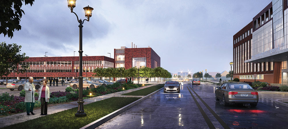 Construction has begun at Mount Sinai South Nassau hospital on a $90 million central utility plant, at left in rendering above, which will take about two years to complete. The plant is part of a $400 million expansion project at the hospital.