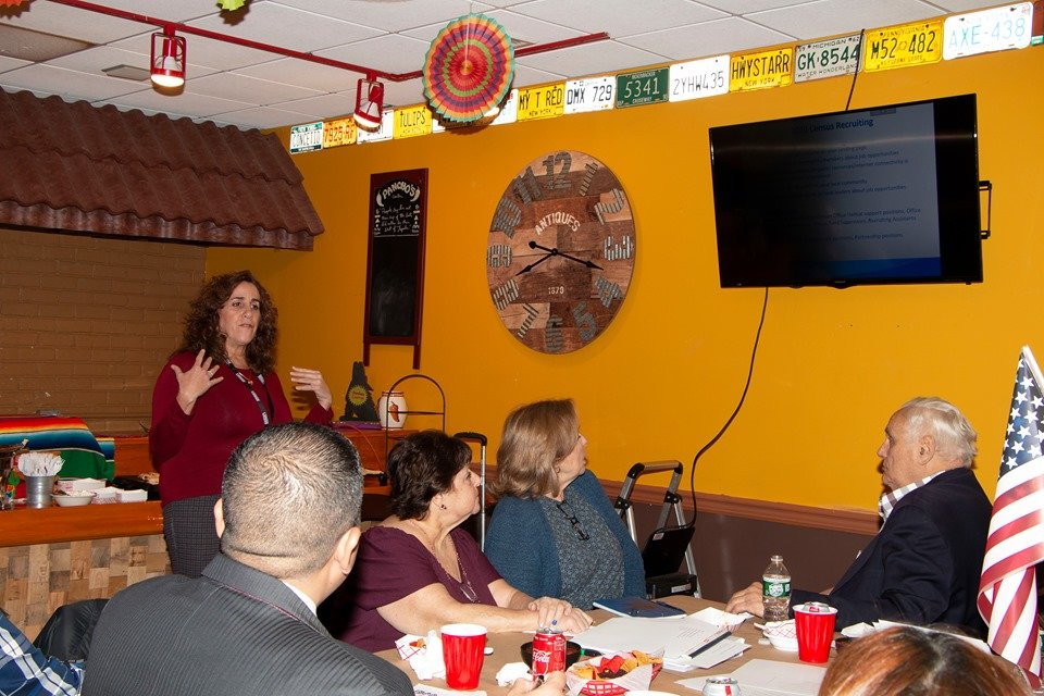Rossana Weitekamp, left, gave a presentation to the chamber about the 2020 census.