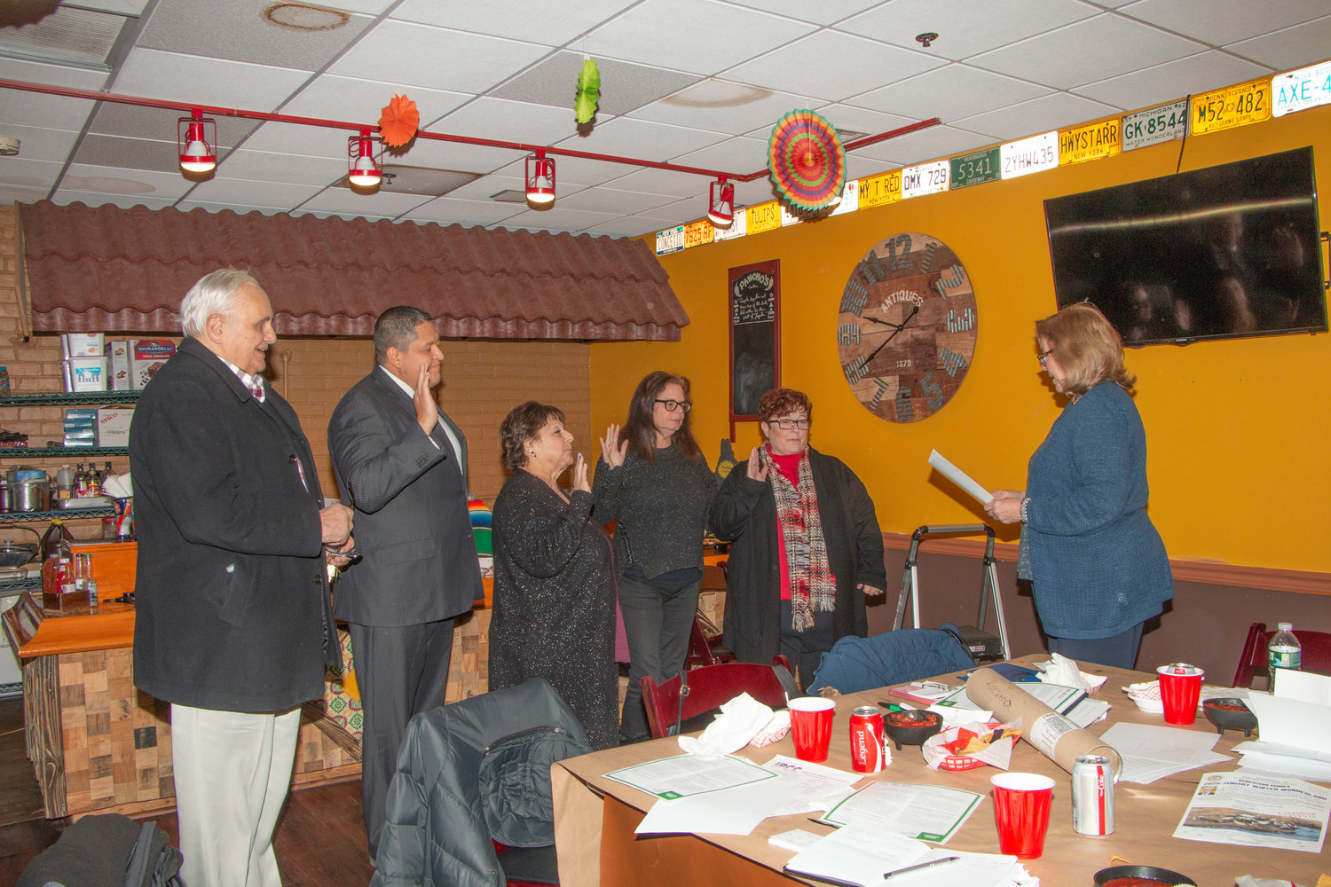 The Island Park Chamber of Commerce installed its new slate of officers on Jan. 9 at Poncho's Cantina.