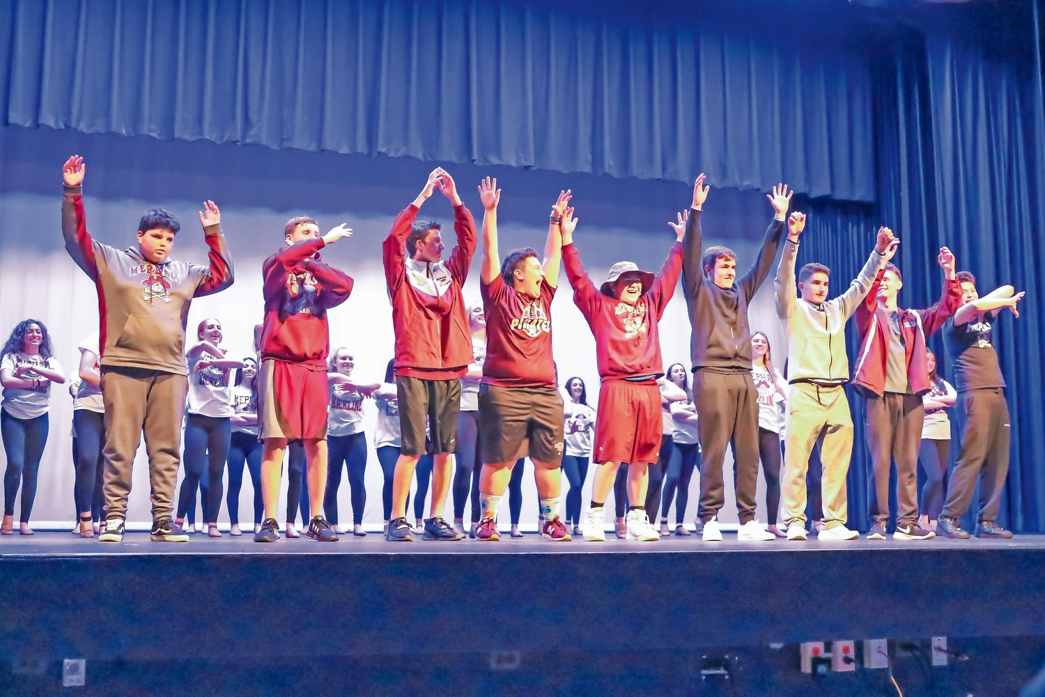 "Nine student contestants competed for the title of ""Mr. Mepham 2020:"" Max Forte, far left, Aidan Carolan, Daniel Angelillo, Dominic Casella, Sean Cates, Kenneth Franquiz, Mike Giustino, Kevin O'Shea and Angel Toro."