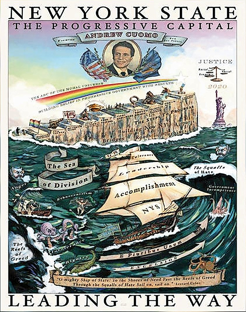 The poster released by Gov. Andrew Cuomo's office before his Jan. 8 State of the State speech was reminiscent of late-19th-century political posters.