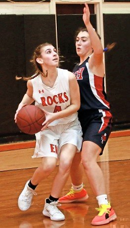 East Rockaway's Isabella Abruzzo, left, looked for shooting space during a tough 33-31 loss to Cold Spring Harbor on Jan. 7.