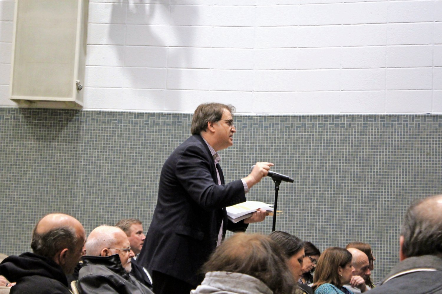 Island Park resident Richard Shurin, a fierce opponent of the LIPA tax reduction over the past few years, spoke at the community meeting hosted by LIPA and Nassau County on Jan. 15.