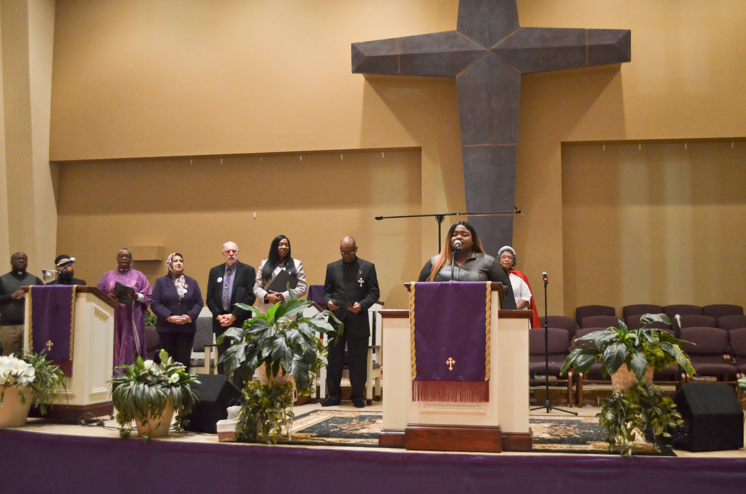 "Brittney Spruill, of the Center of Hope Deliverance Church, sang her rendition of ""Lift Every Voice,"" which is known as the African- American anthem."