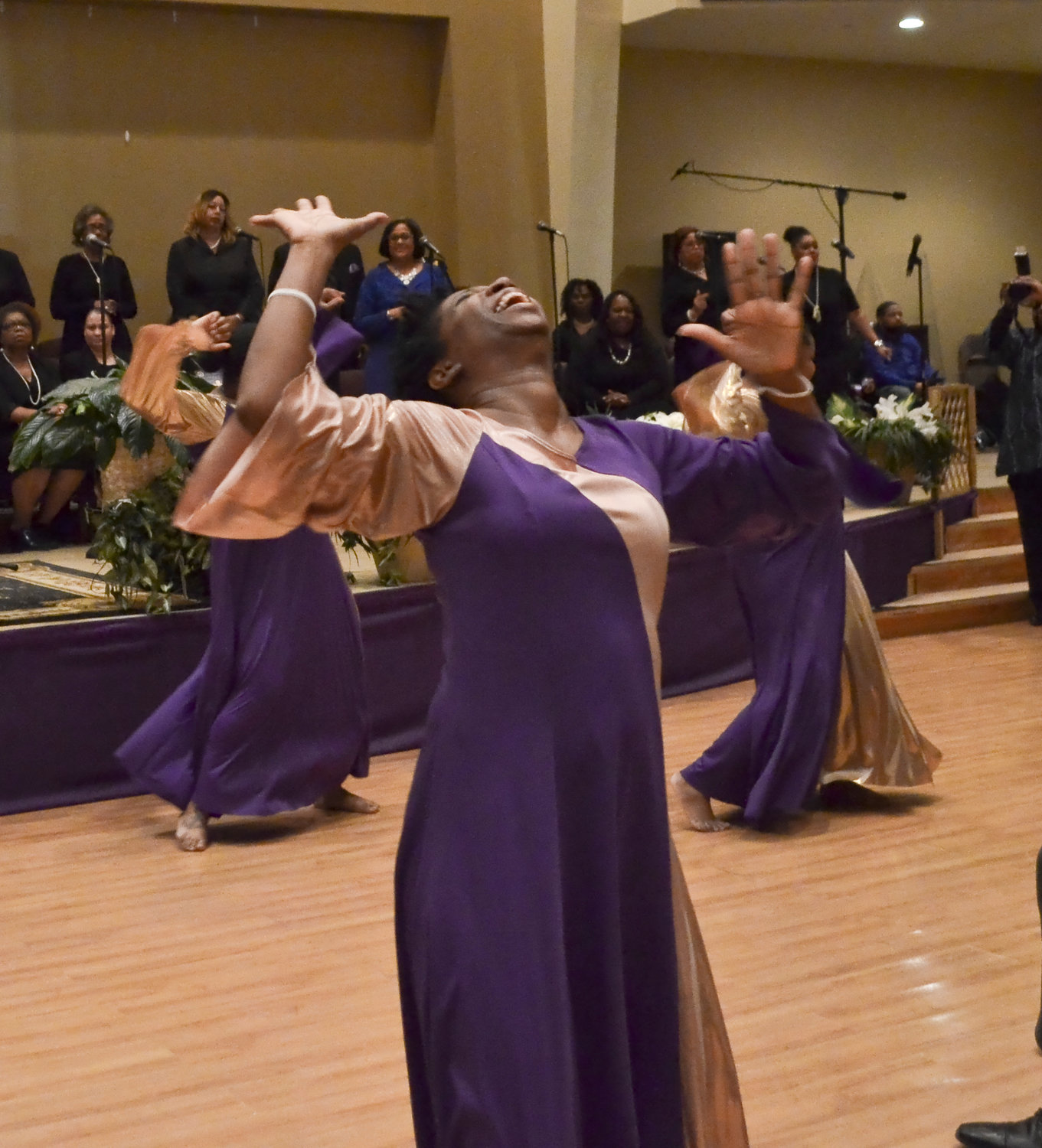 Members of the Eternal Praise Dance Ministry exuberantly expressed their joy, and their faith.