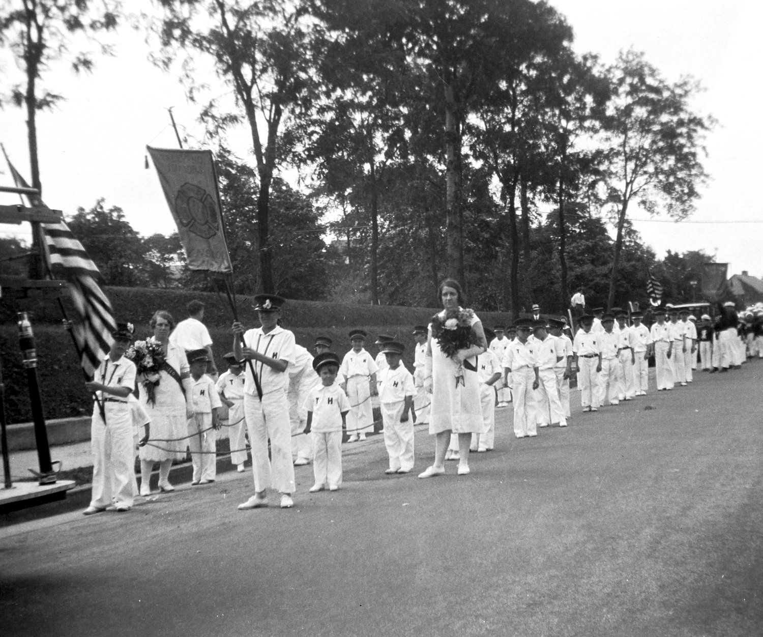 Members of what eventually became Lynbrook's Junior Fire Department from Tally-Ho Company lined up for a parade in the early 1920s.
