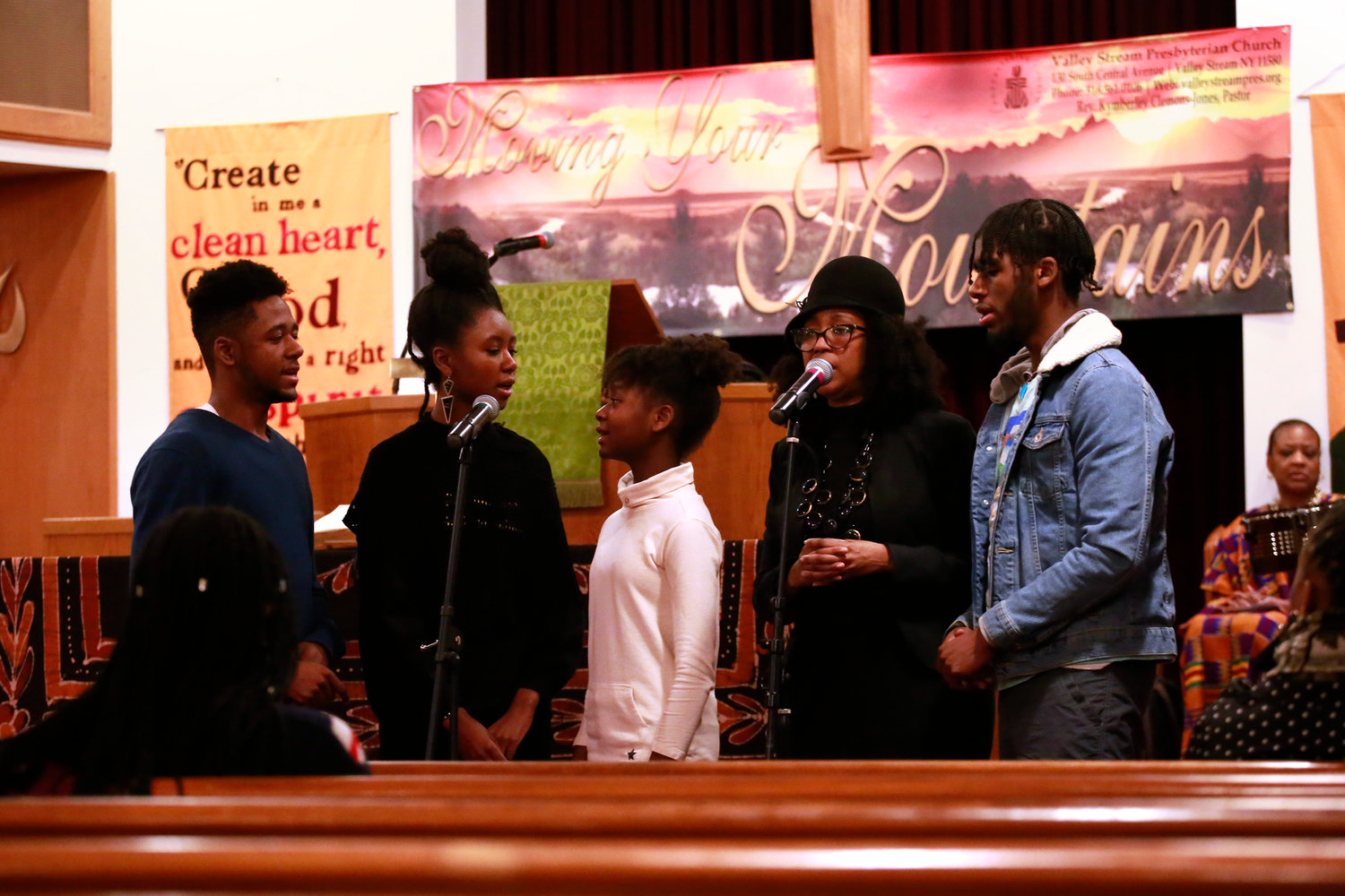 Caleb, from left, Nailah, Japera, Jeanine Cook-Garard and Joshua Garard of the worship team at Powerhouse Church of God in Christ in Merrick performed at the Valley Stream Presbyterian Church on Monday.
