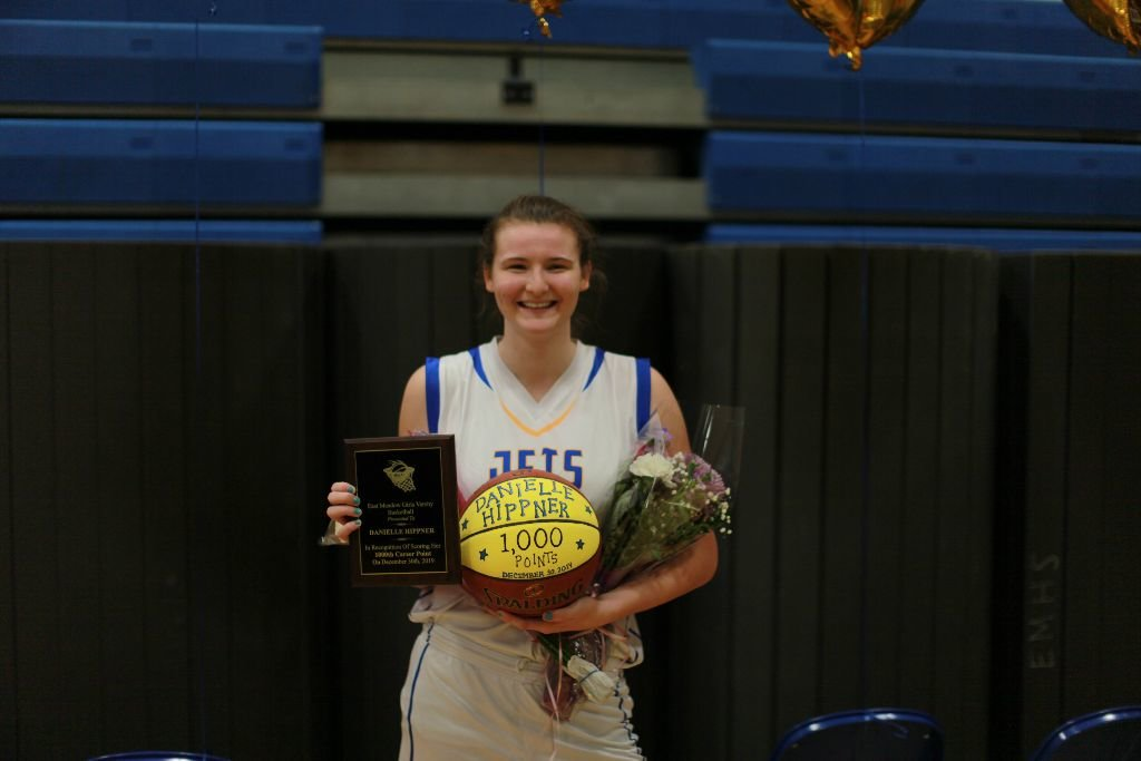 Danielle Hippner reached the 1000th point in her varsity basketball career on the girl's team at East Meadow High School on Jan. 17.