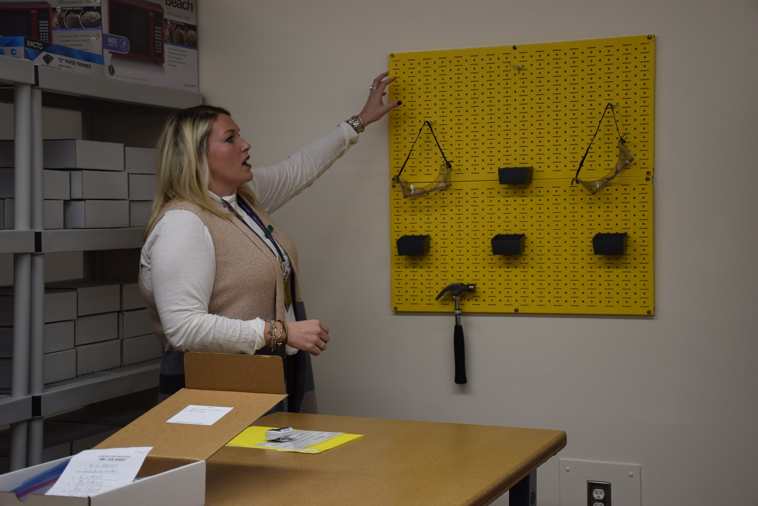 Sheila Dempsey, a special education teacher at West Hempstead High School, gave a tour of the new Practical Assessment Exploration System Lab after a ribbon-cutting ceremony on Jan. 21.