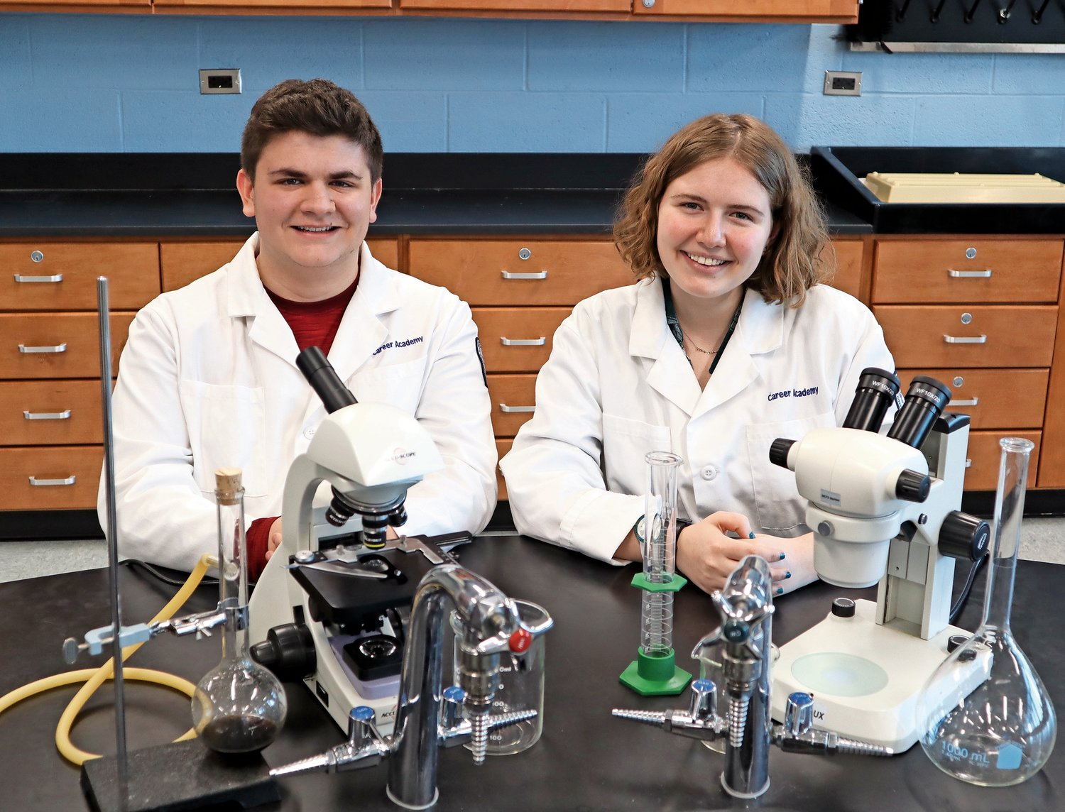 Katherine St George, right, came in sixth place in the Science Talent Search competition. Andrew Brinton and St George are only the fifth and sixth students from John F. Kennedy High School to be named finalists in the prestigious competition.
