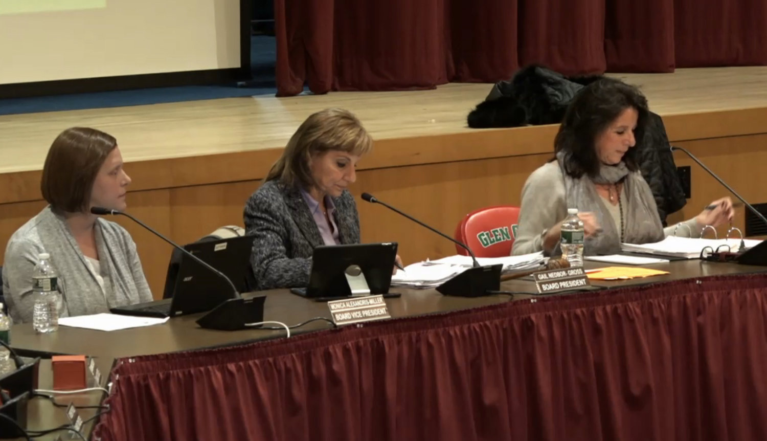 Glen Cove City School District officials, from left, Monica Alexandris-Miller, Gail Nedbor-Gross and Dr. Maria Rianna discussed the preliminary budget and proposed bond on Jan. 22.