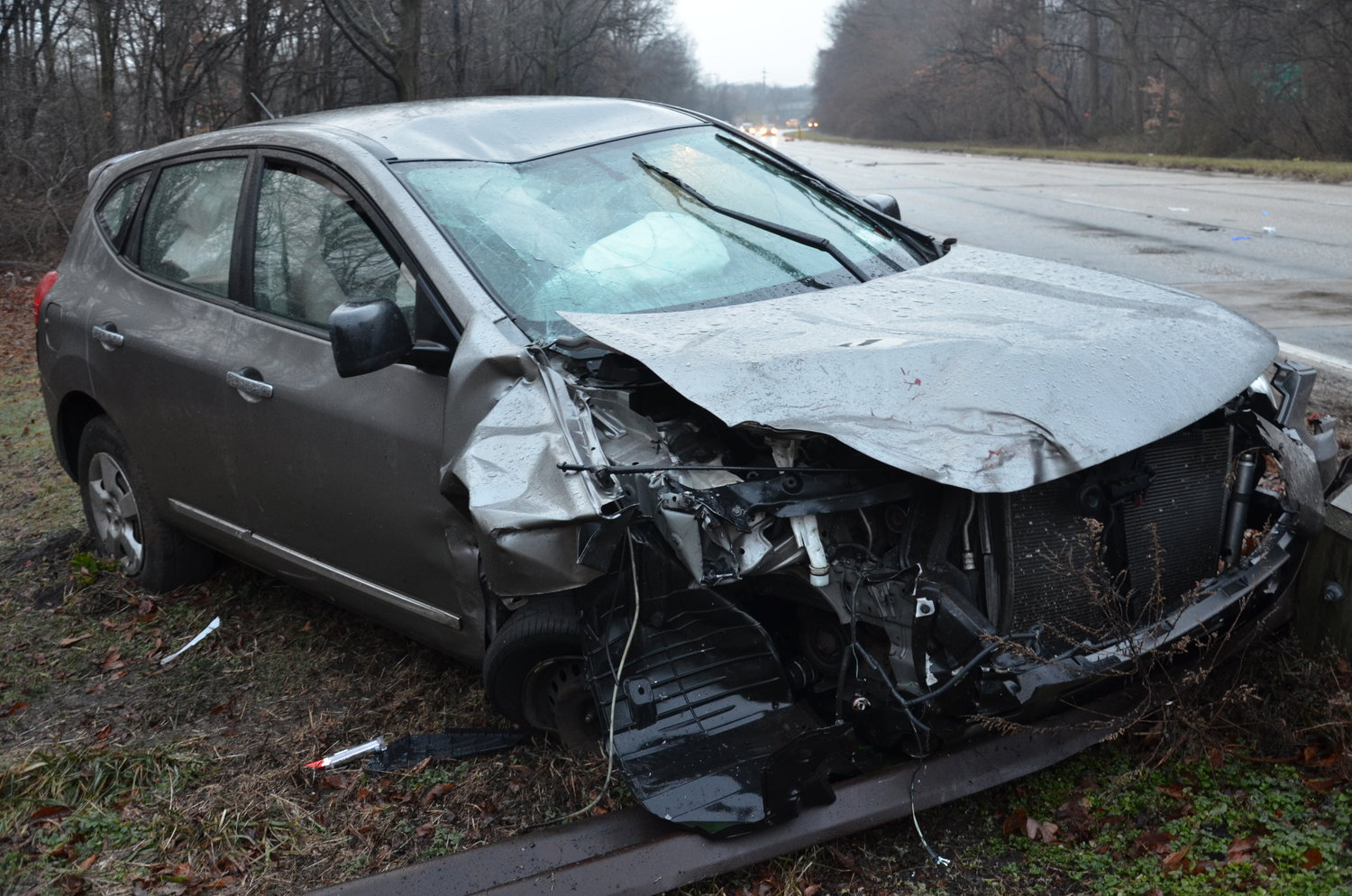 The driver of the 2012 Nissan Rogue hit the rear of the 2006 Kia that went off the road through the guardrail and then slammed into a tree off northbound Meadowbrook Parkway exit M7.