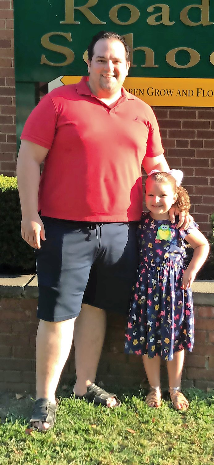 Domenico Brugellis realized he needed to lose weight after posing for this photo with his daughter, Alessia, on her first day of kindergarten in September 2018