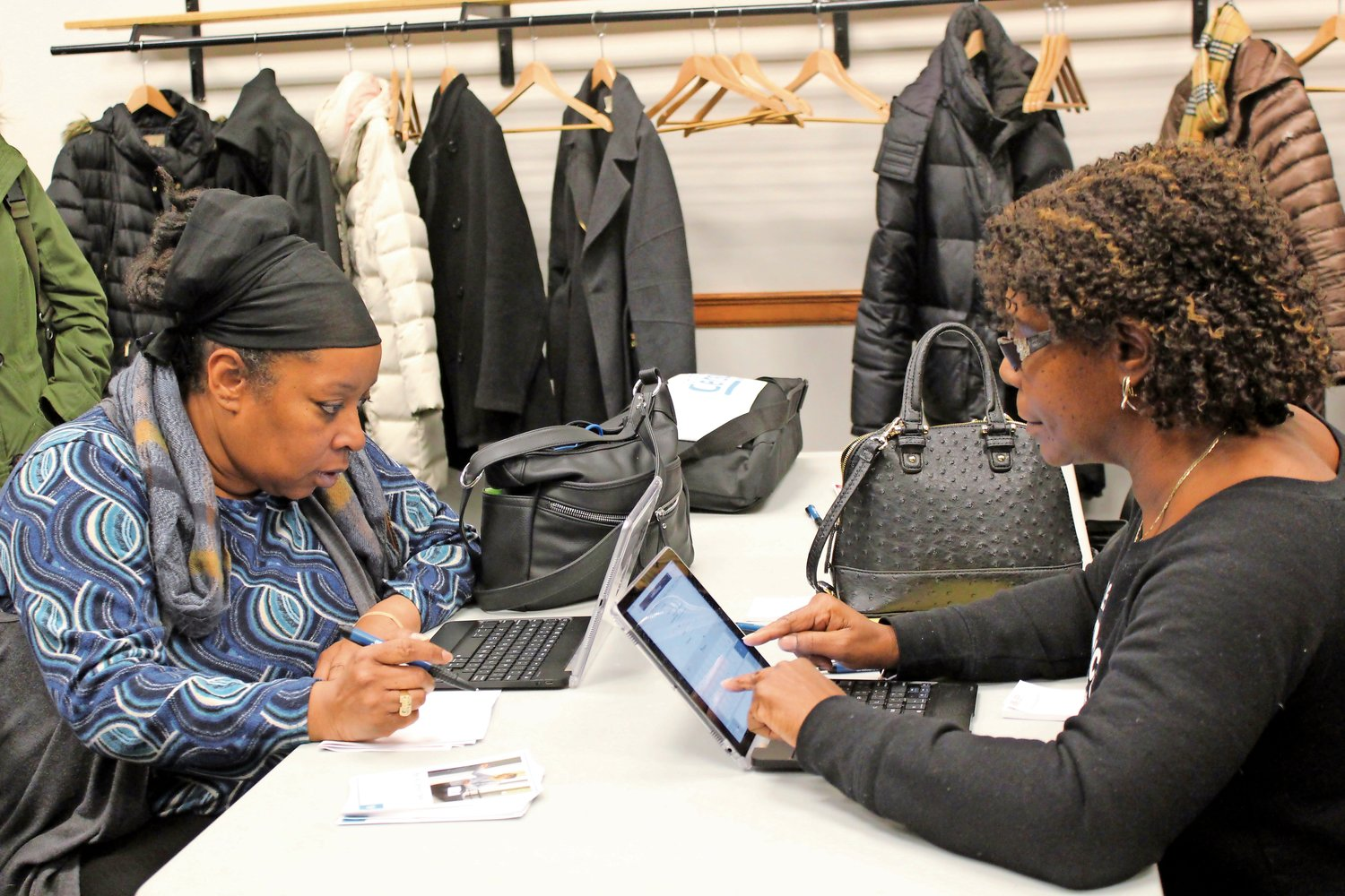 Gail Johnson and Deborah Krider applied for jobs with the U.S. Census Bureau on Jan. 30.