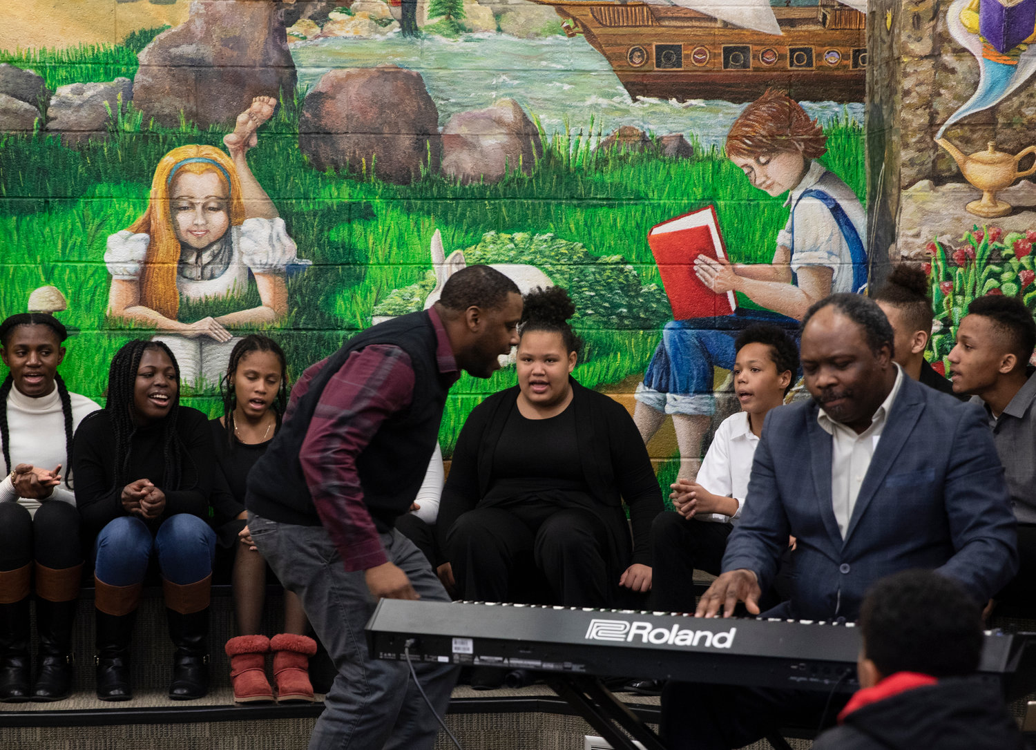 Members of the Valley Stream Presbyterian Church Inspirational Choir performed at the Henry Waldinger Library on Sunday. Leading them was Music Director Justin Mack and keyboard player Loris Laborde.
