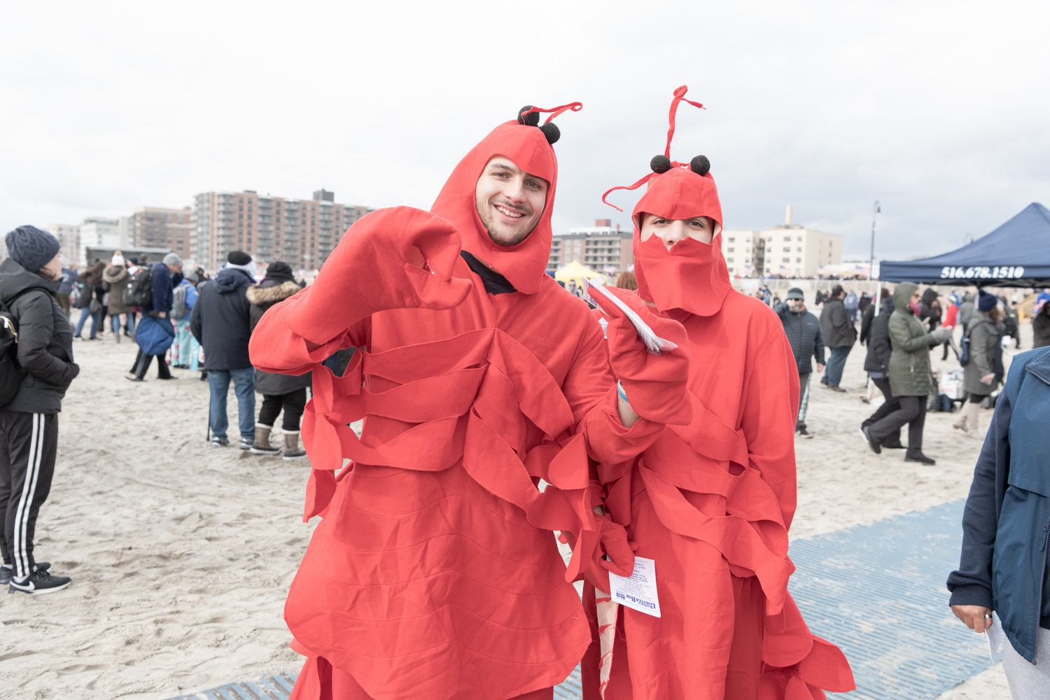 Lobsters were spotted on the beach.