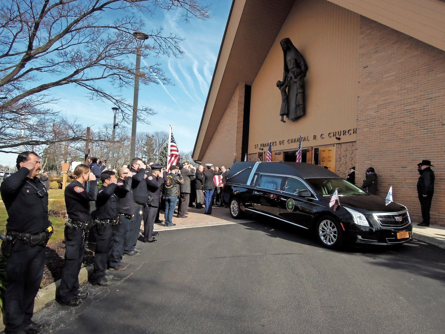 Fred T. Haag's casket was carried to a waiting hearse after his Jan. 30 funeral at St. Frances de Chantal Catholic Church in Wantagh.
